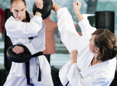 Woman in Karate training